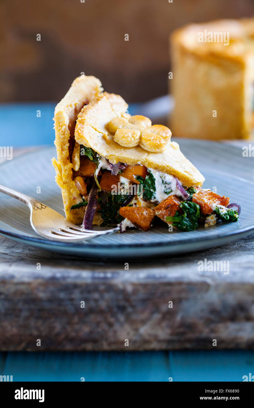 Homemade vegetarian pie with butternut squash, spinach, goat cheese and red onion - Stock Image