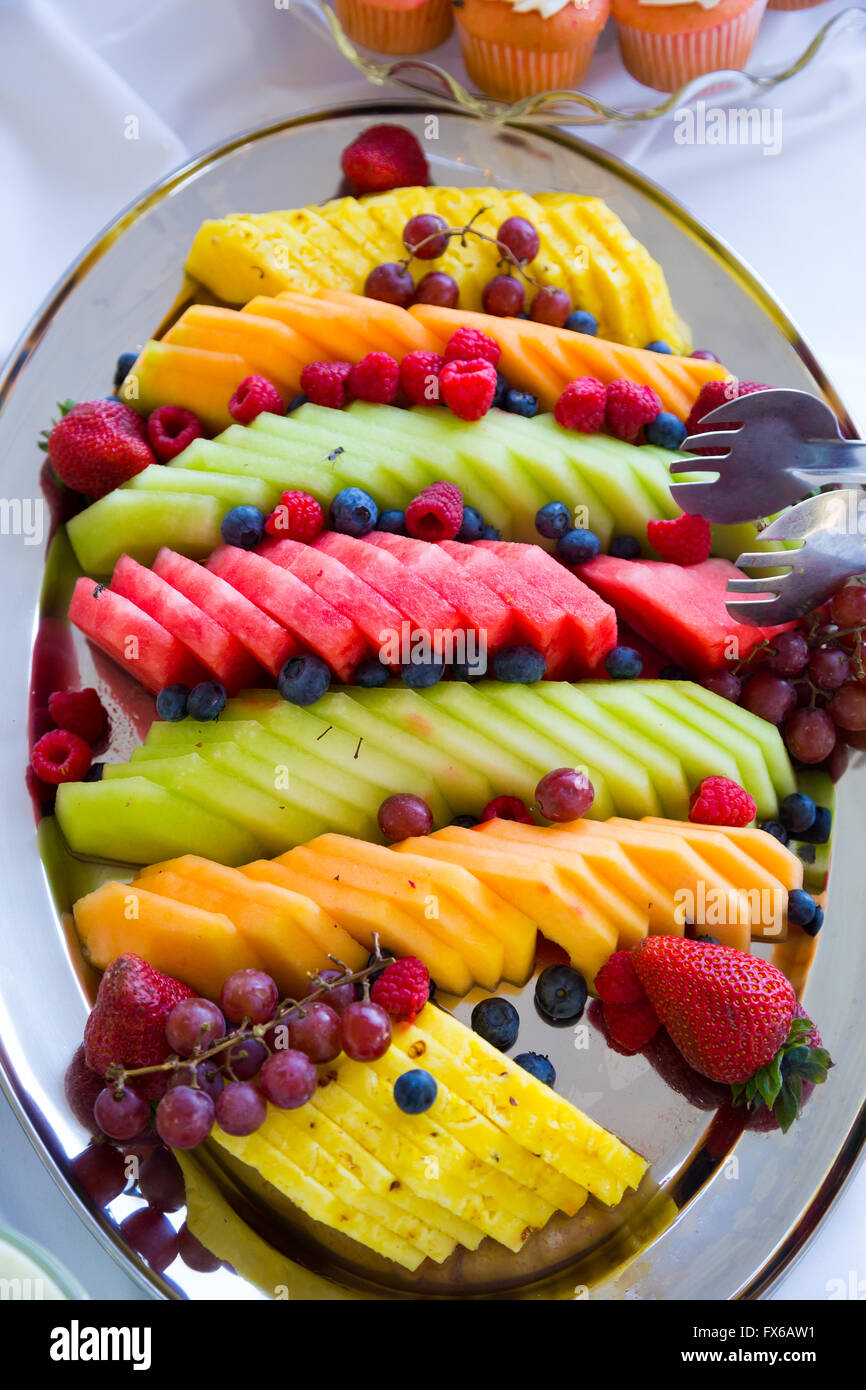Fruit plate or platter at a wedding reception with melon and Stock ...
