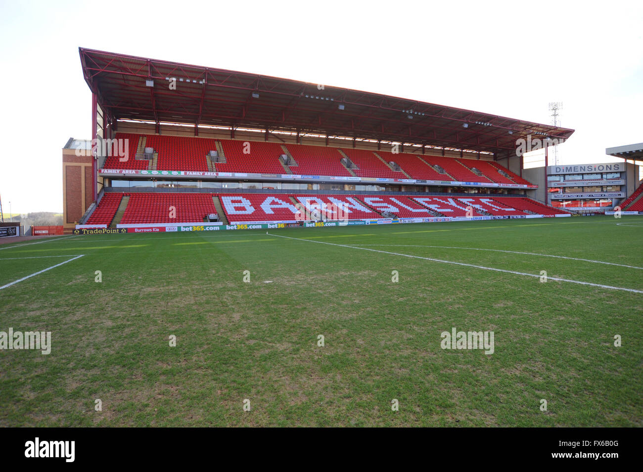 East stand at Barnsley FC, Oakwell, Barnsley, South Yorkshire, UK. - Stock Image