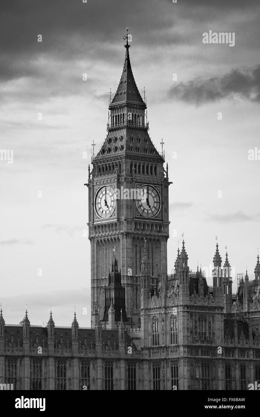 Big Ben of London as the famous landmark and icon of the city. - Stock Image