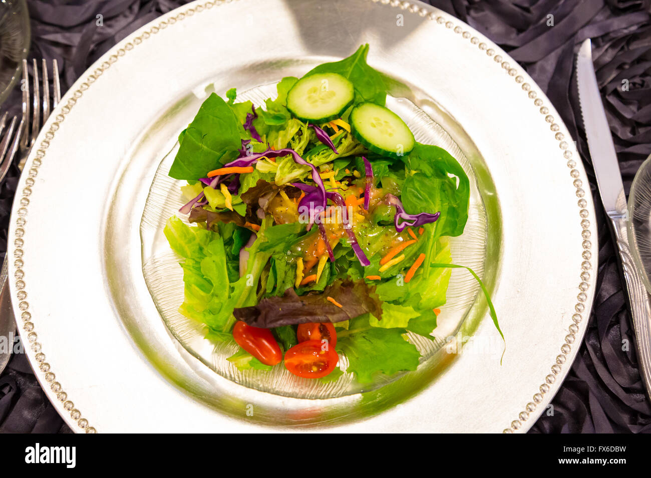 Salad at a wedding reception for guests that want to eat healthy and watch their diet. - Stock Image