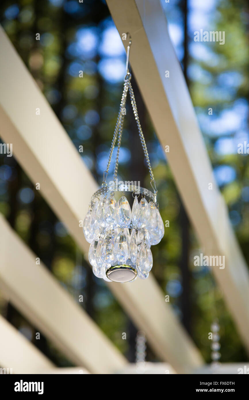 Wedding decorations hang from a pergola to be used in an outdoor wedding decorations hang from a pergola to be used in an outdoor ceremony junglespirit Images