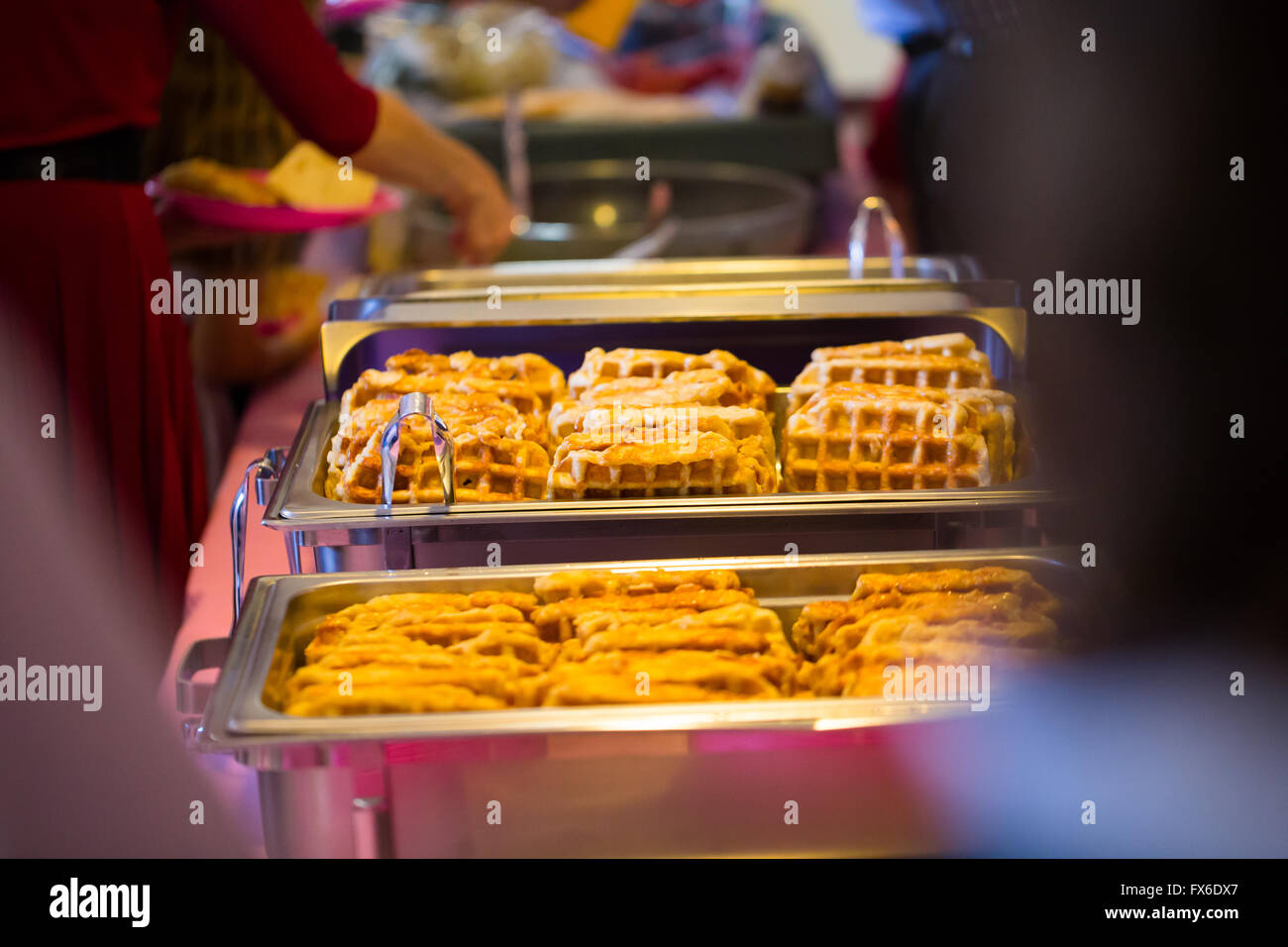 Buffet Dinner At This Wedding Reception Includes Breakfast Waffles