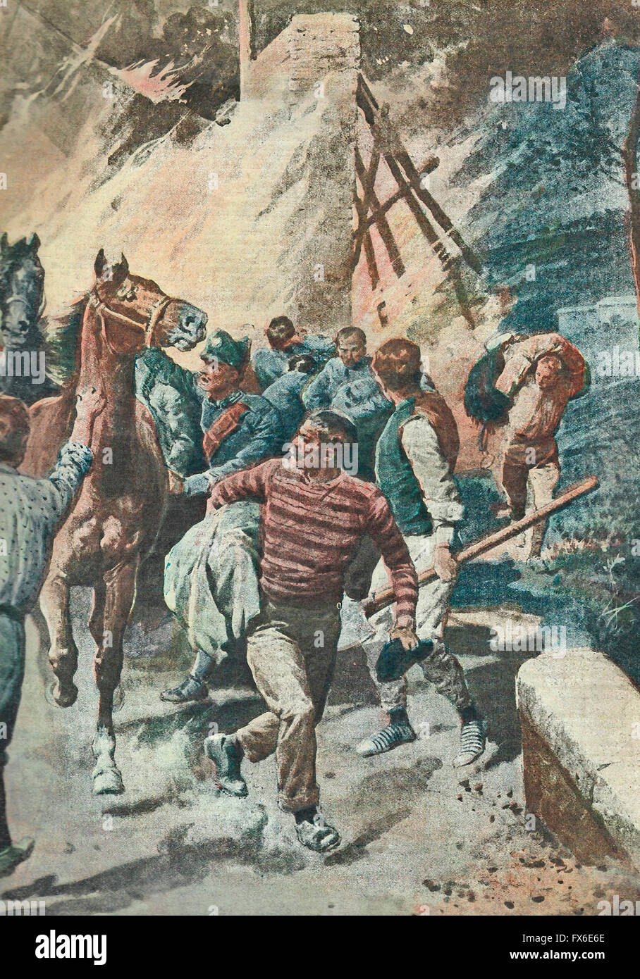 A criminal attack against the Ferrarese unions  and free workers  1913 - Stock Image