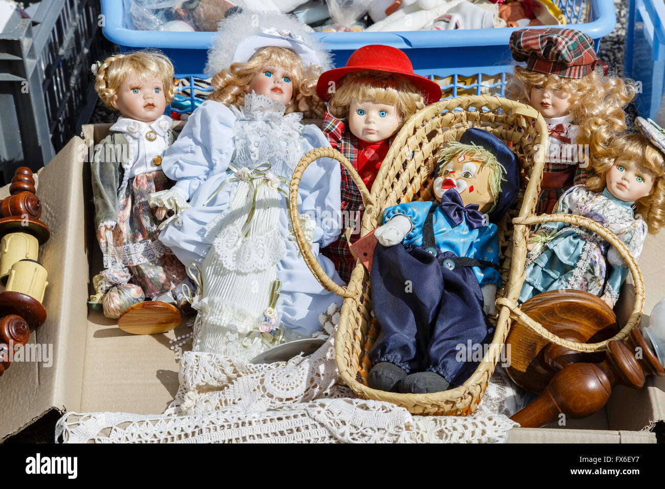 Dolls on sale at a vide-grenier, Allègre, Haute-Loire, France - Stock Image