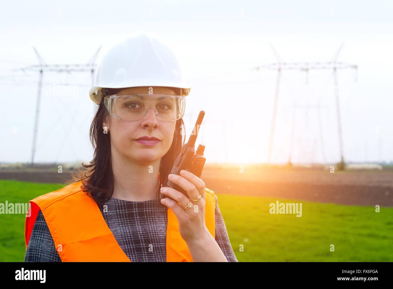 Electrification engineer talk a walkie-talkie Stock Photo