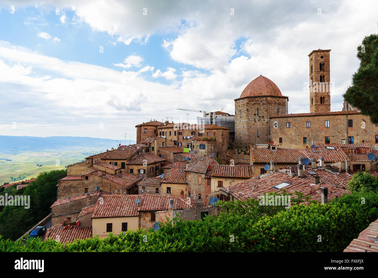 Ancient center of village Volterra, Tuscany, Italy - Stock Image