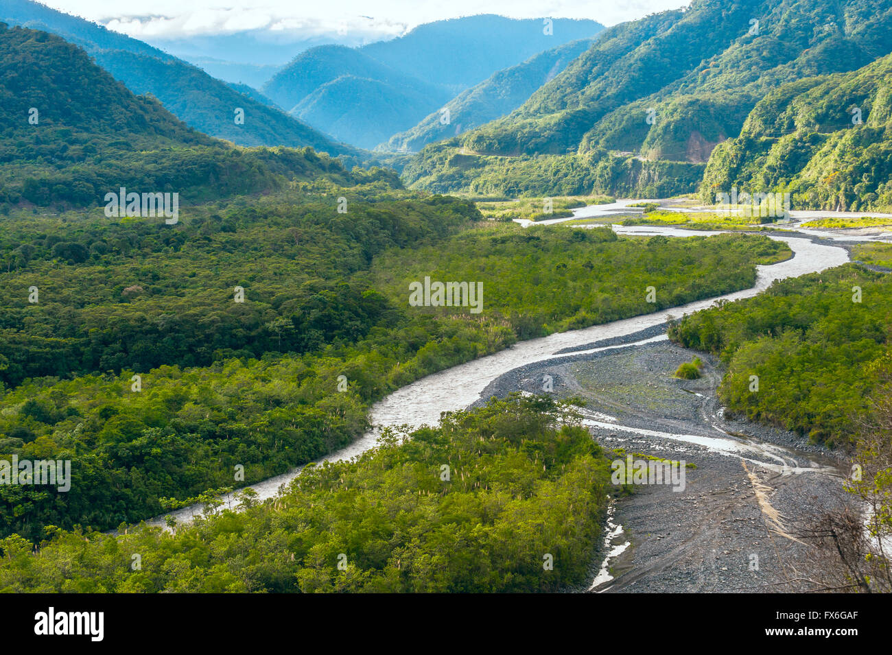 From Andes to Amazon, View of the tropical rainforest, Pastaza province in the Oriente of Ecuador - Stock Image