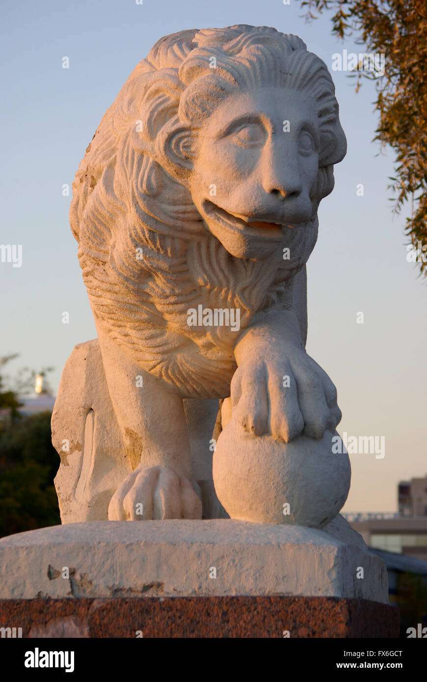 Russia. Sculpture of a lion watchdog. - Stock Image