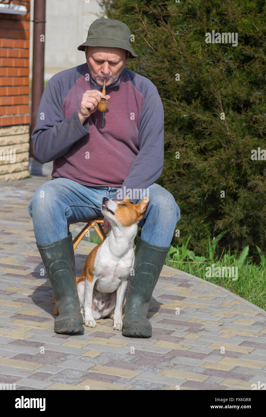 Young dog shows dissatisfaction of master's smoking while having rest in the garden - Stock Image