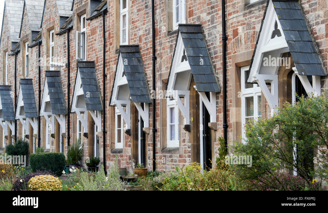 Identical alms houses. Wells, Somerset, England - Stock Image