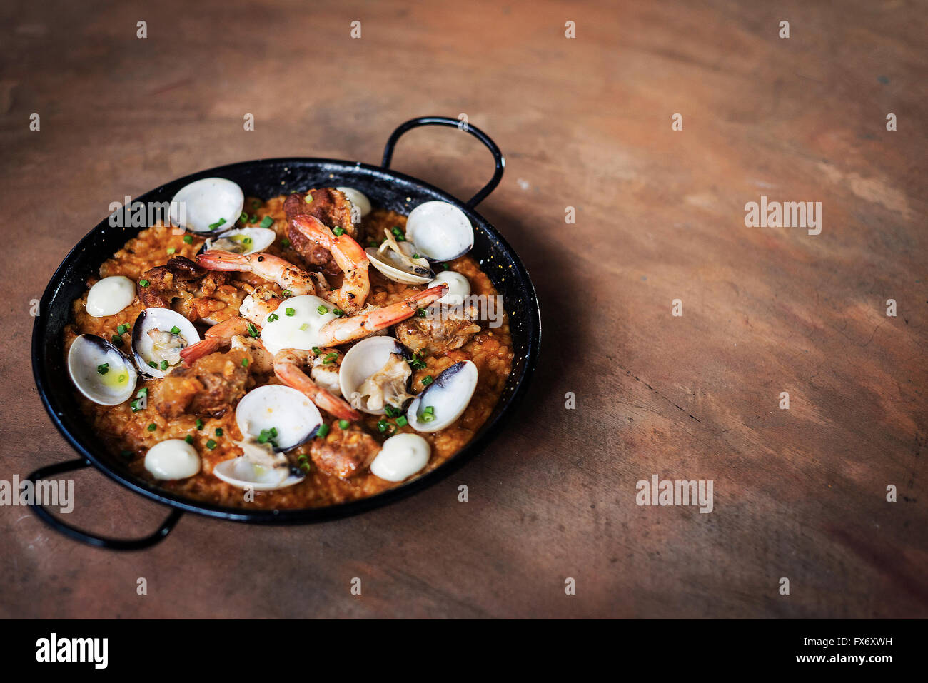 seafood and rice paella traditional famous spanish food - Stock Image