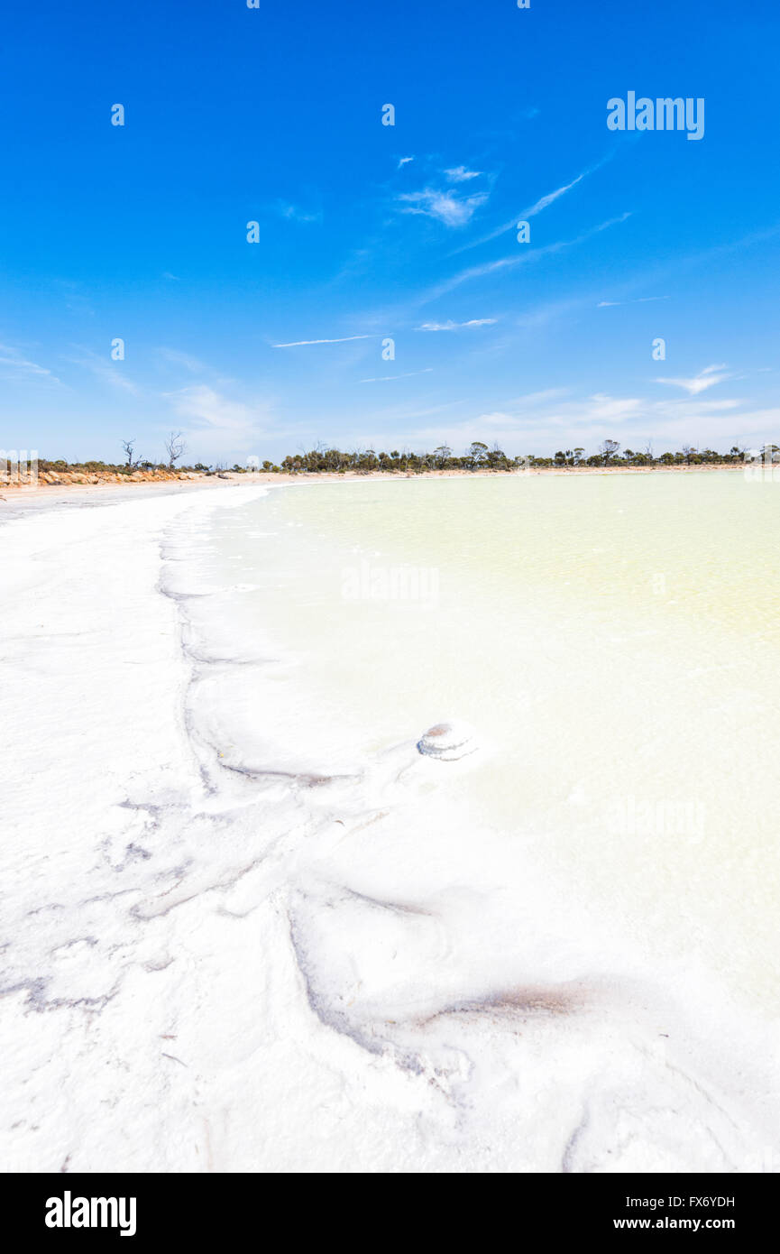 The gypsum base of this lake makes it look green. Lake Magic, Hyden, Western Australia, WA, Australia Stock Photo