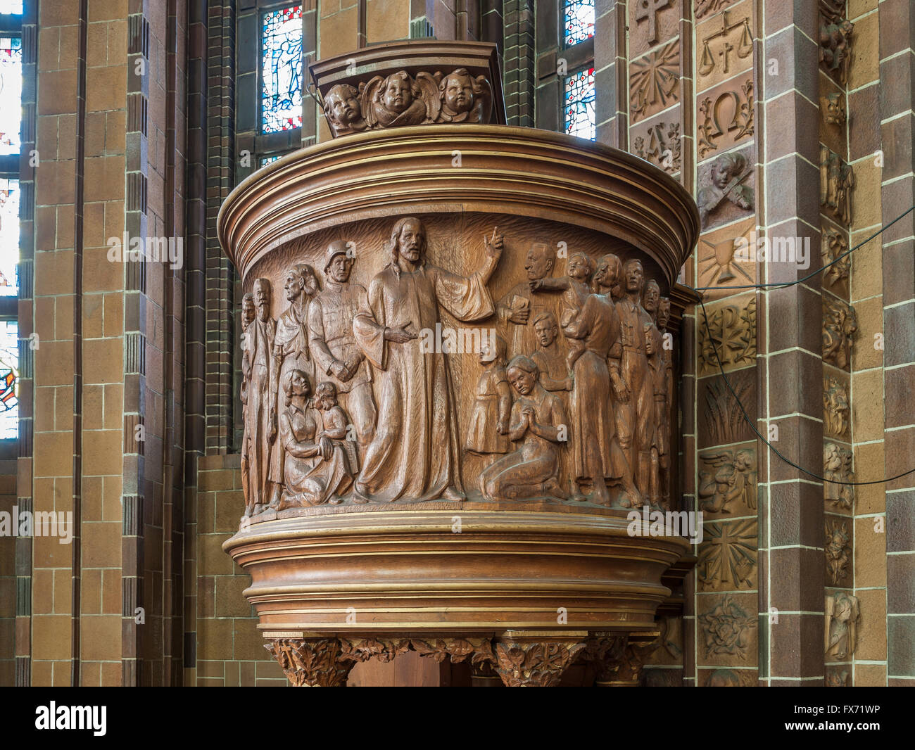 Wooden pulpit with Nazi symbolism, soldier, SA-man and Hitler Youth, Sermon on the Mount, Martin Luther Memorial - Stock Image