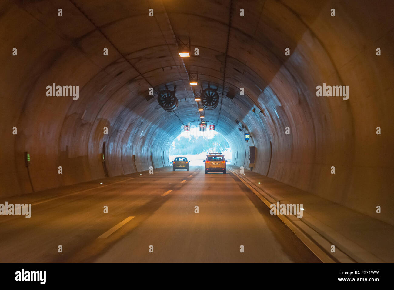 Rennsteig Tunnel or Christiane-Tunnel, A71 motorway tunnel, the longest road tunnel in Germany, Thuringia, Germany Stock Photo