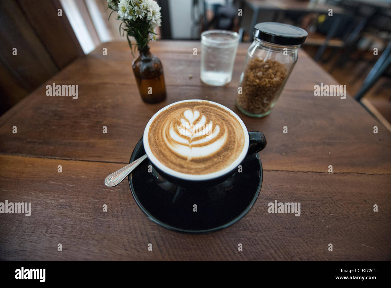 Latte art in Chiang Mai, Thailand - Stock Image