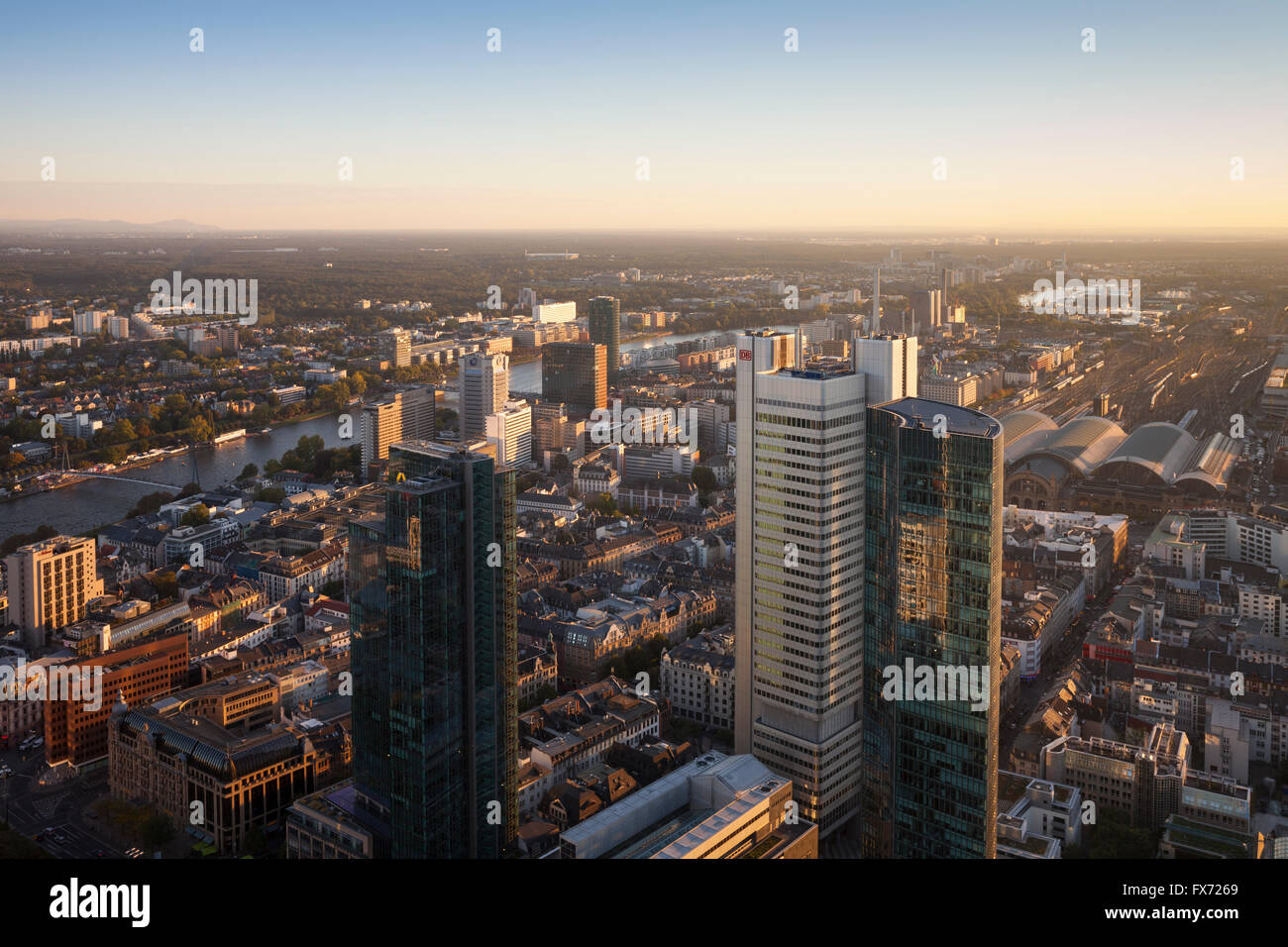 Cityscape with Gallileo and Silberturm skyscrapers, view from the Main Tower, Frankfurt, Hesse, Germany Stock Photo