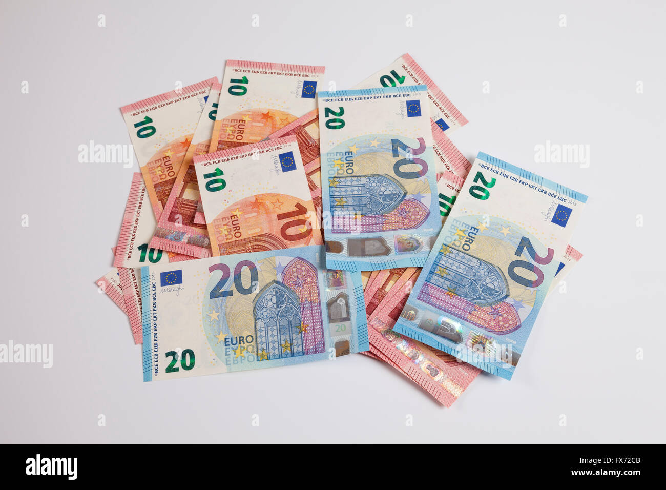 Bank notes, twenty Euros, release date 25/11/2015, ten Euros, release date 23/09/2014 - Stock Image