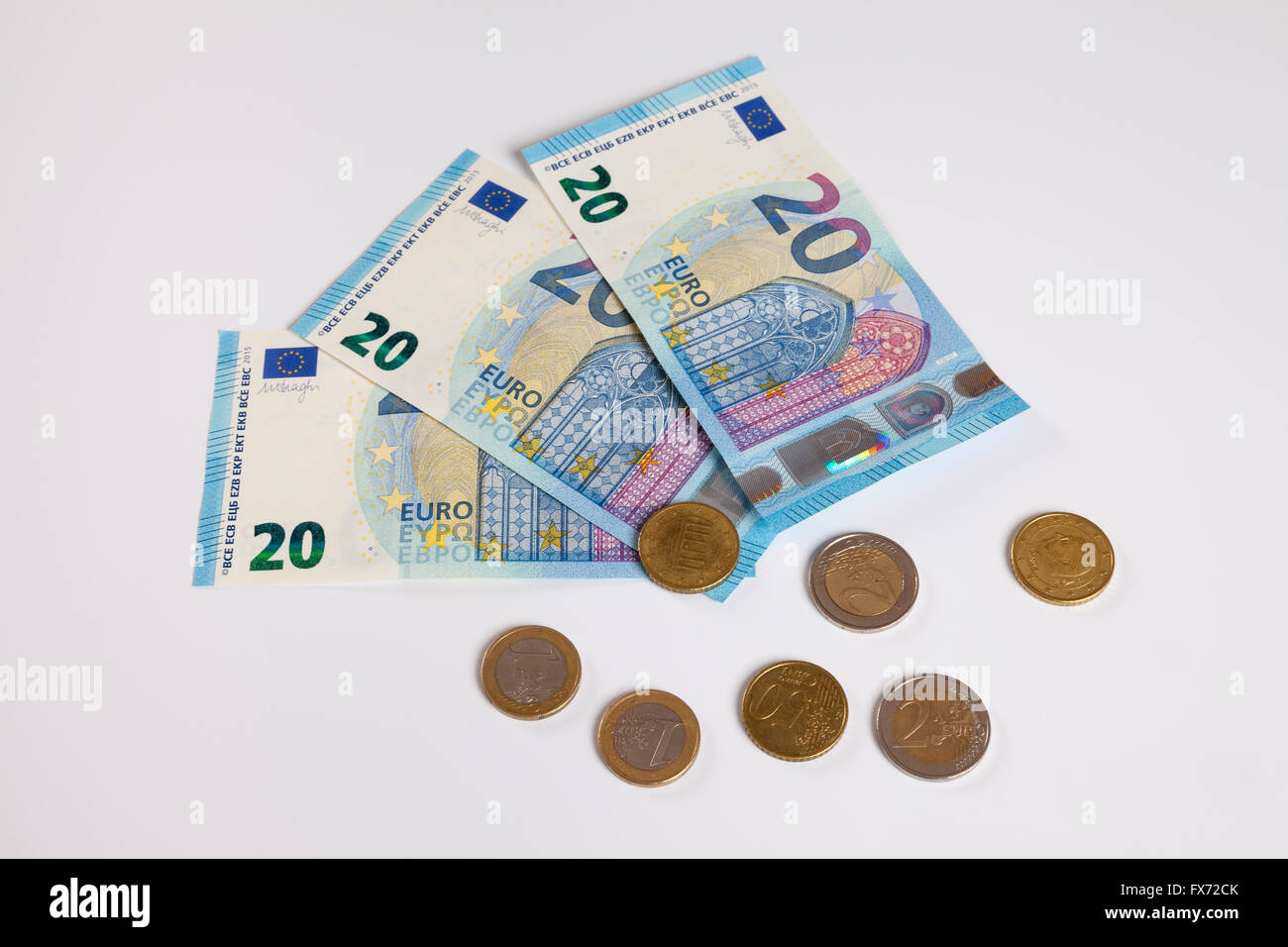 Bank notes, twenty euros, publication date 25/11/2015, coins - Stock Image
