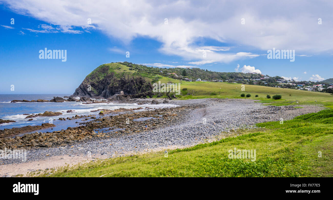 Australia, New South Wales, Mid North Coast region, view of Pebbly Beach and the Big Nobby headland at Crescent - Stock Image