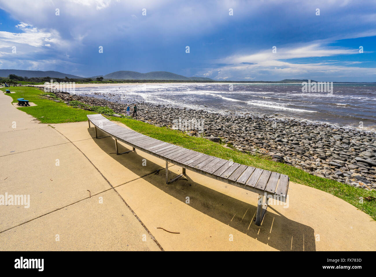 Australia, New South Wales, Mid North Coast region, view of Crescent Head Beach pebbly shoreline of the Little Nobby - Stock Image