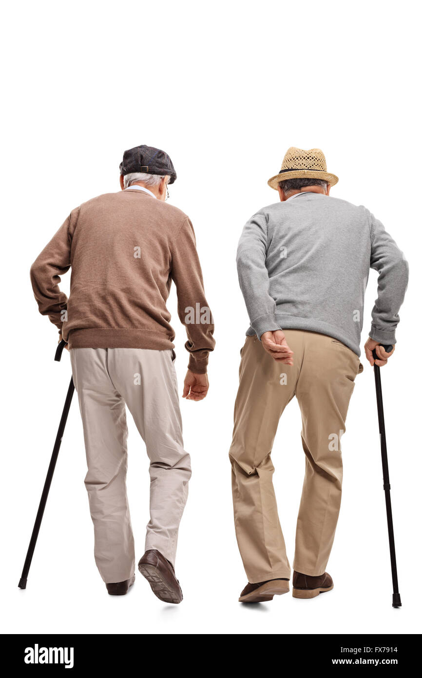 Two elderly people walking with canes isolated on white background, rear view - Stock Image
