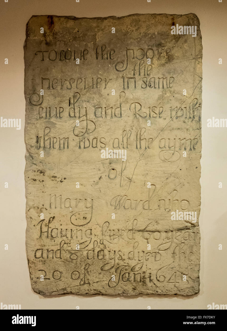 Tombstone of Mary Ward (1585 - 1645) mounted in the interior wall of St Thomas' Church, Osbaldwick, Nr York, - Stock Image
