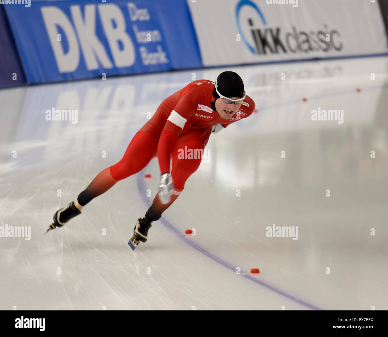 Speed skater at the ISU World All-round Speed Skating Championships, Berlin, Germany, March 2016 - Stock Image