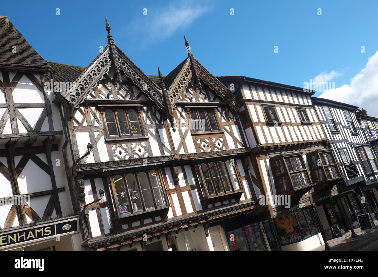 Ludlow Shropshire old black and white timbered Tudor properties in Broad Street in the town centre UK - Stock Image