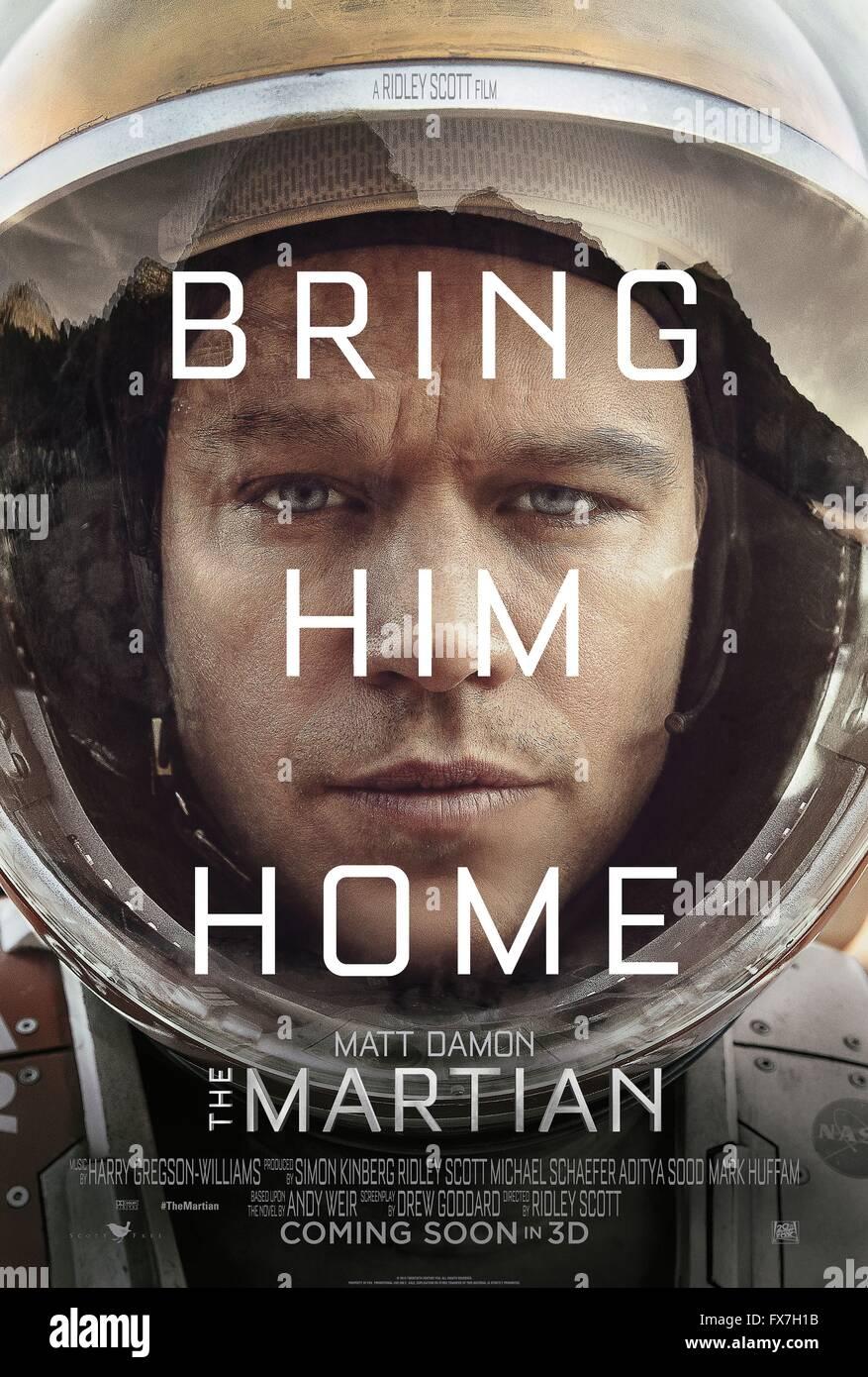 The Martian Year : 2015 USA Director : Ridley Scott Matt Damon Movie poster (USA) - Stock Image