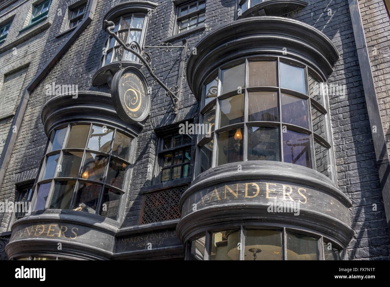 close up exterior of garrick ollivander wandmakers shop in. Black Bedroom Furniture Sets. Home Design Ideas