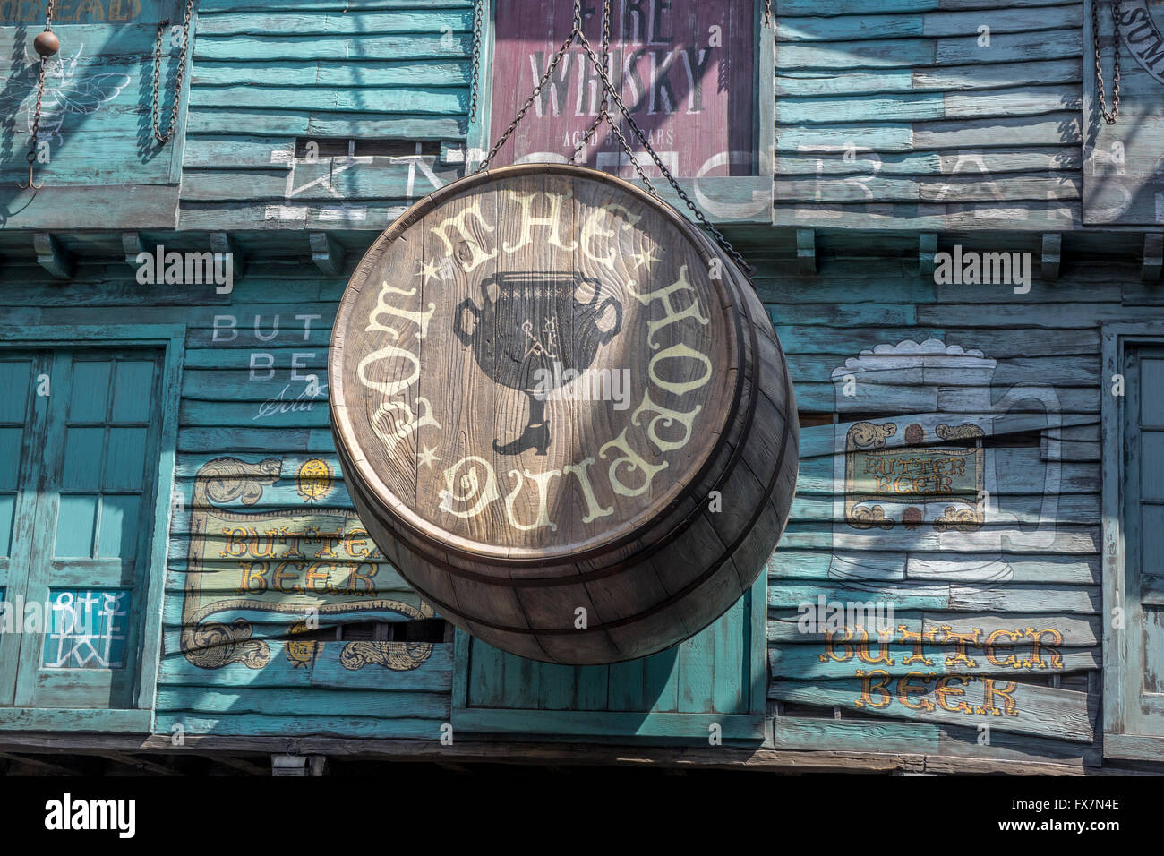 The Hopping Pot Sign In Diagon Alley At The Wizarding World Of Harry Potter Universal Studios Orlando Florida - Stock Image