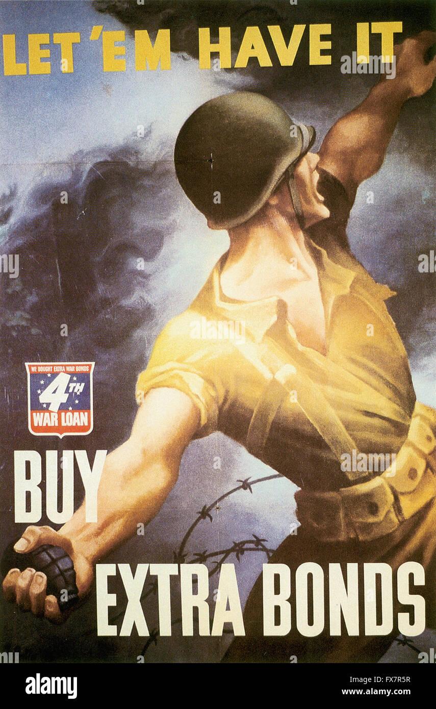 - World War II - U.S propaganda Poster - Stock Image