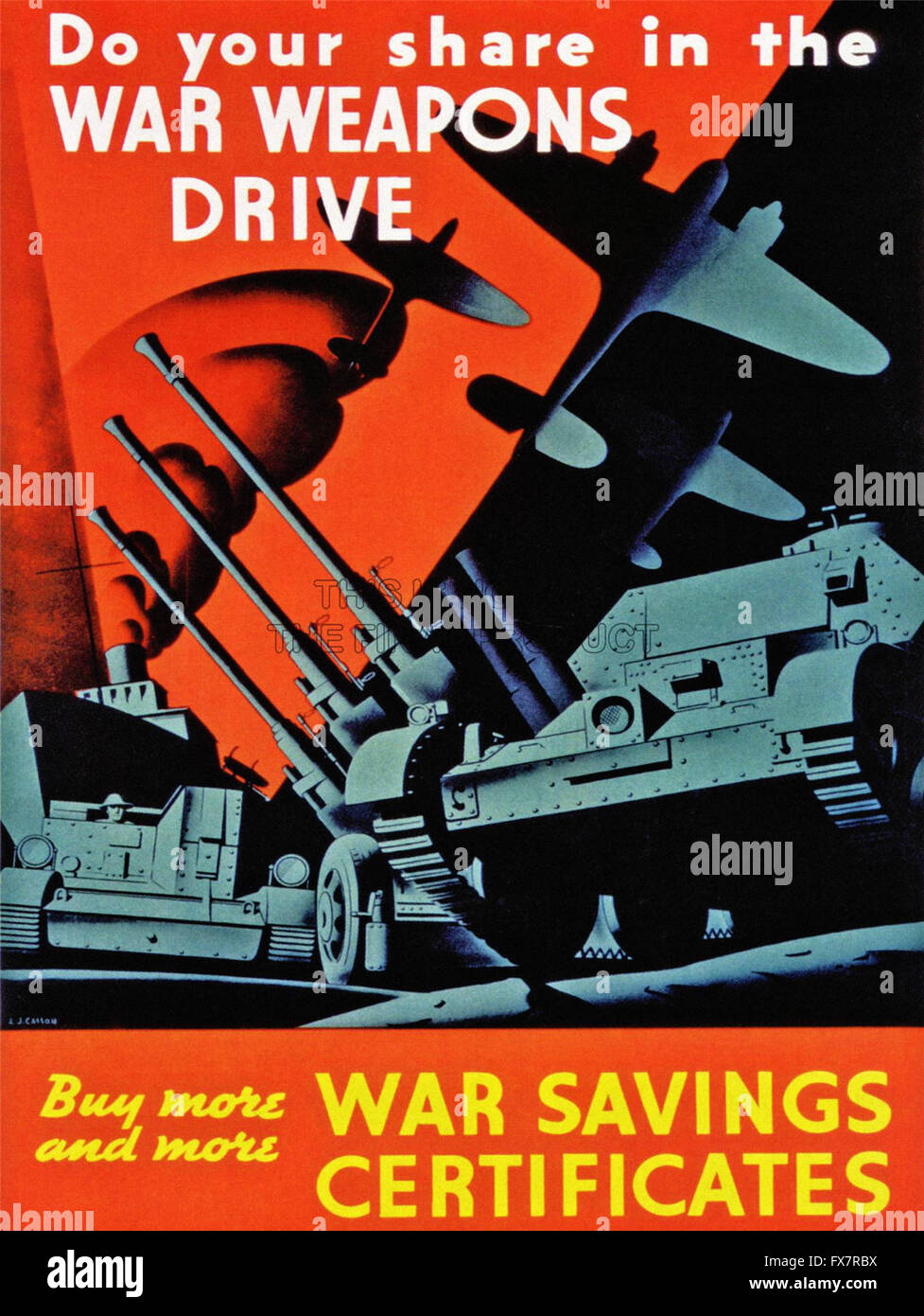 War Weapons Drive - World War II - U.S propaganda Poster - Stock Image