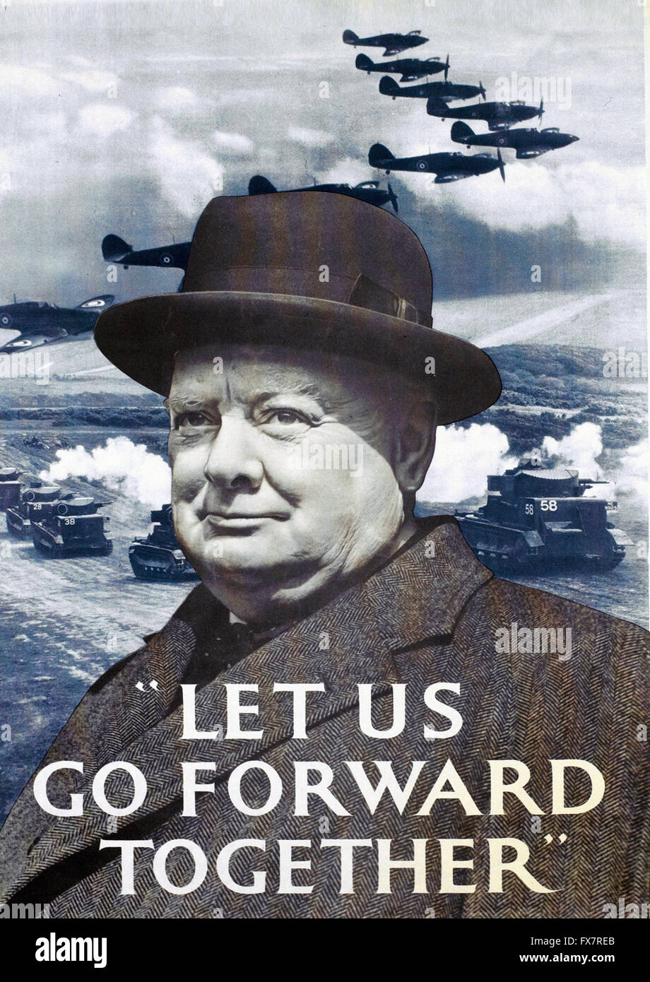 Churchill - World War II - british propaganda Poster - Stock Image