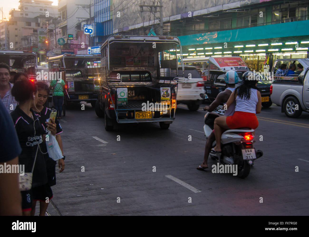 Traffic jam in town, Thailand - Stock Image