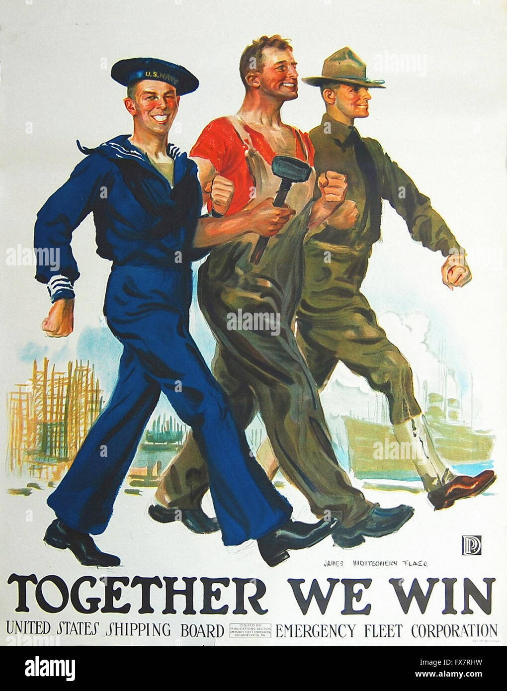 Together We Win - World War II - U.S propaganda Poster - Stock Image
