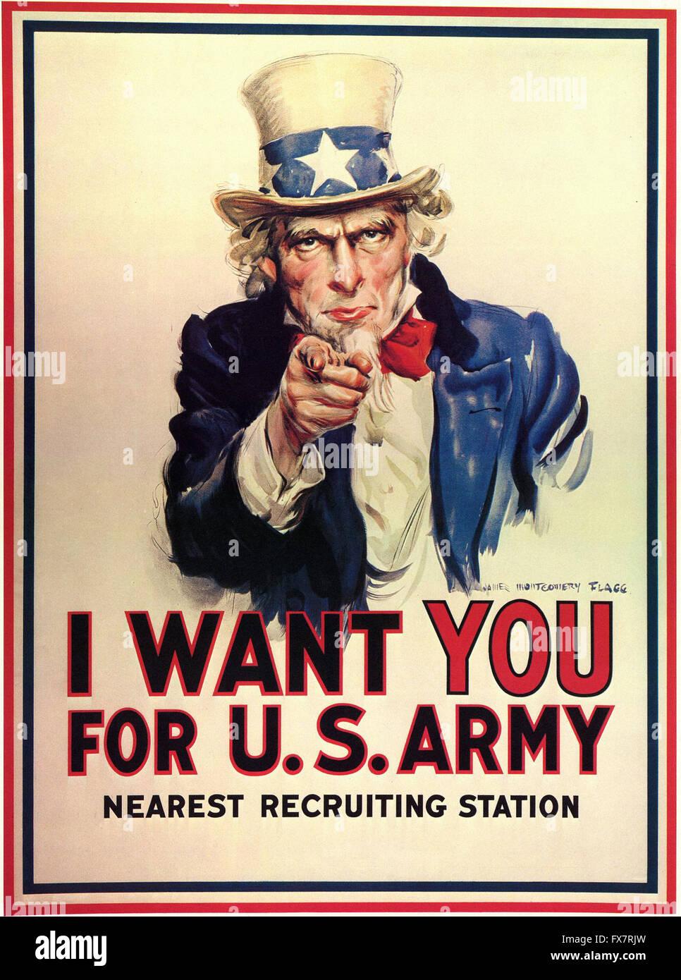 Uncle Sam - I Want You For U.S. Army - World War II - U.S propaganda Poster - Stock Image