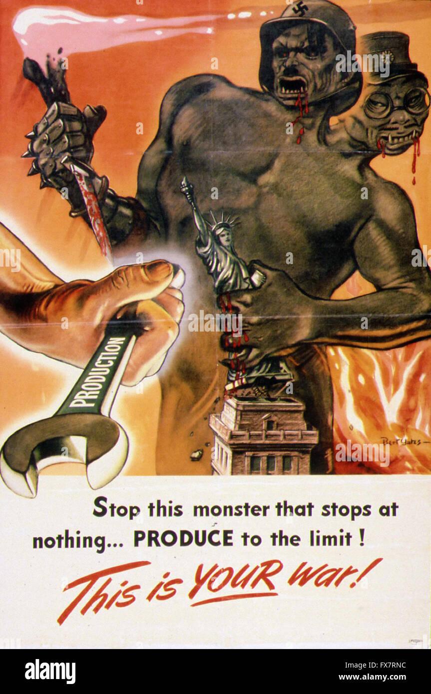 this Is Your War - World War II - U.S propaganda Poster Stock Photo