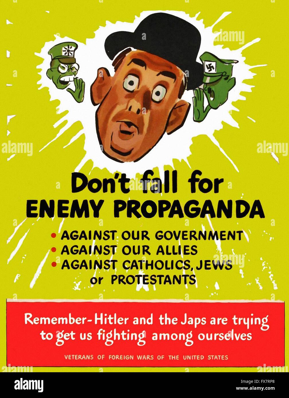 Don't Fall For Enemy Propaganda - World War II - U.S propaganda Poster - Stock Image