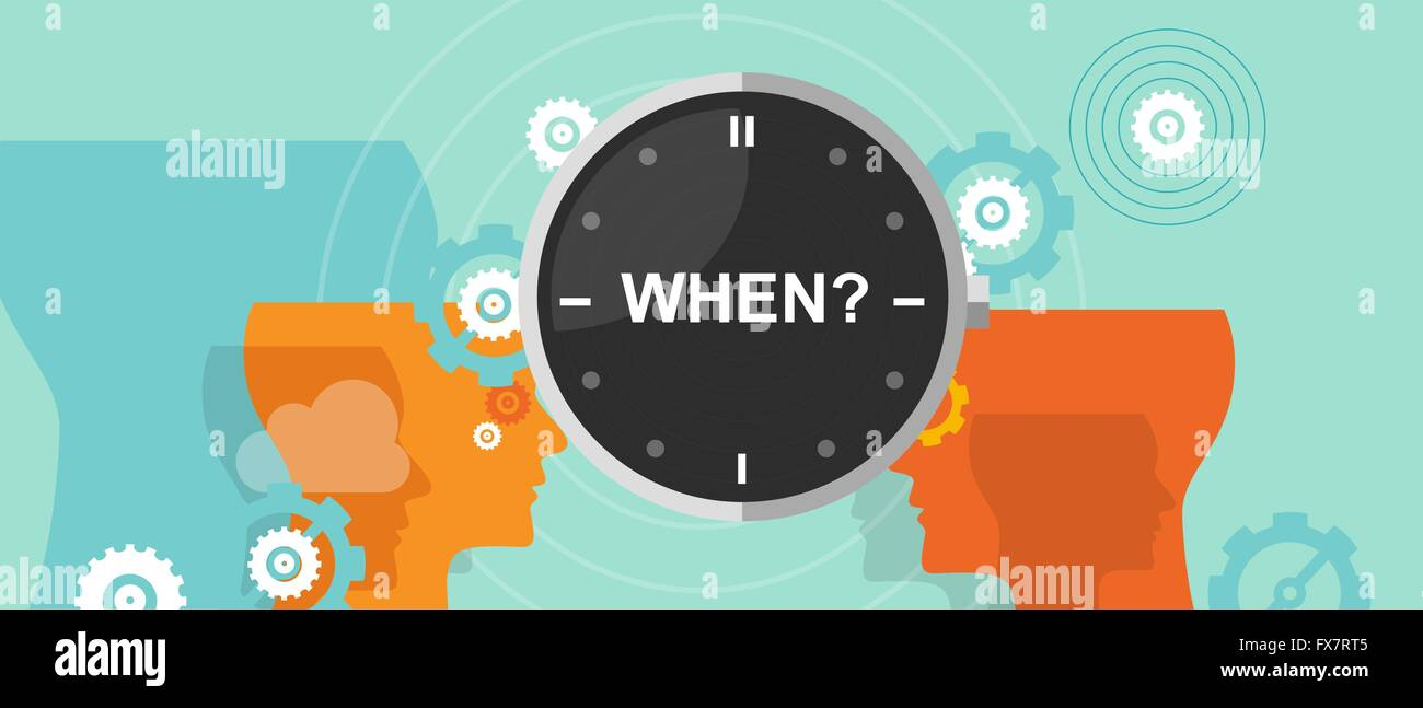 when timing question mark business concept decision strategy - Stock Vector