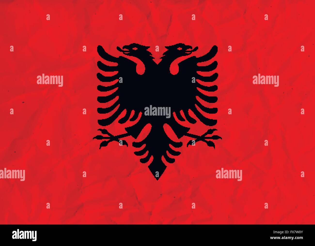 Albania  paper  flag - Stock Vector