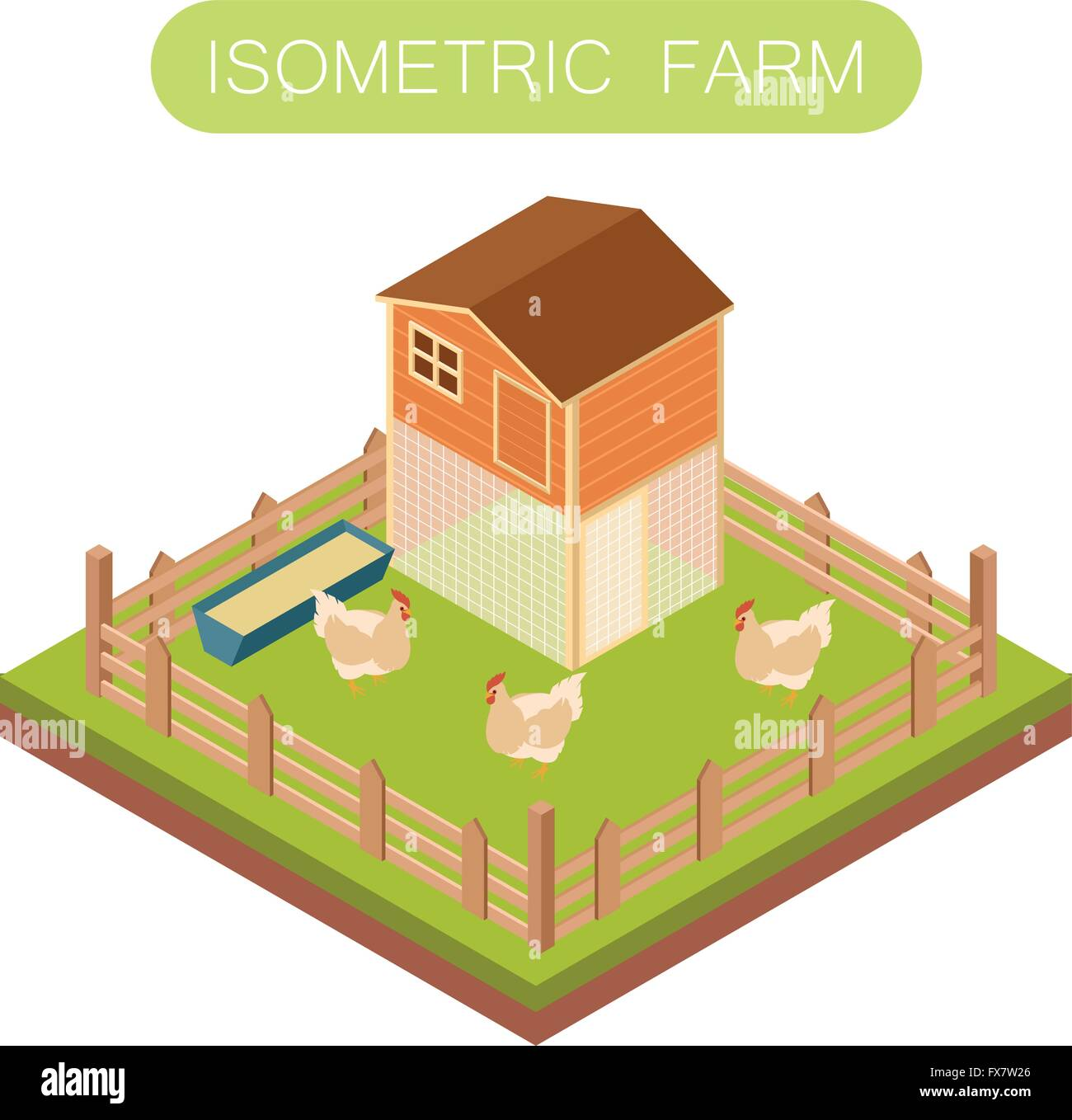 Isometric henhouse with chikens - Stock Vector