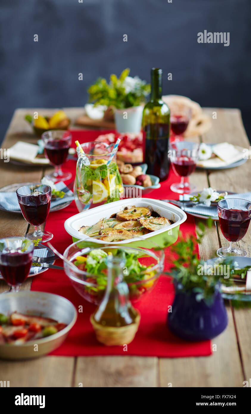Dinner on table - Stock Image