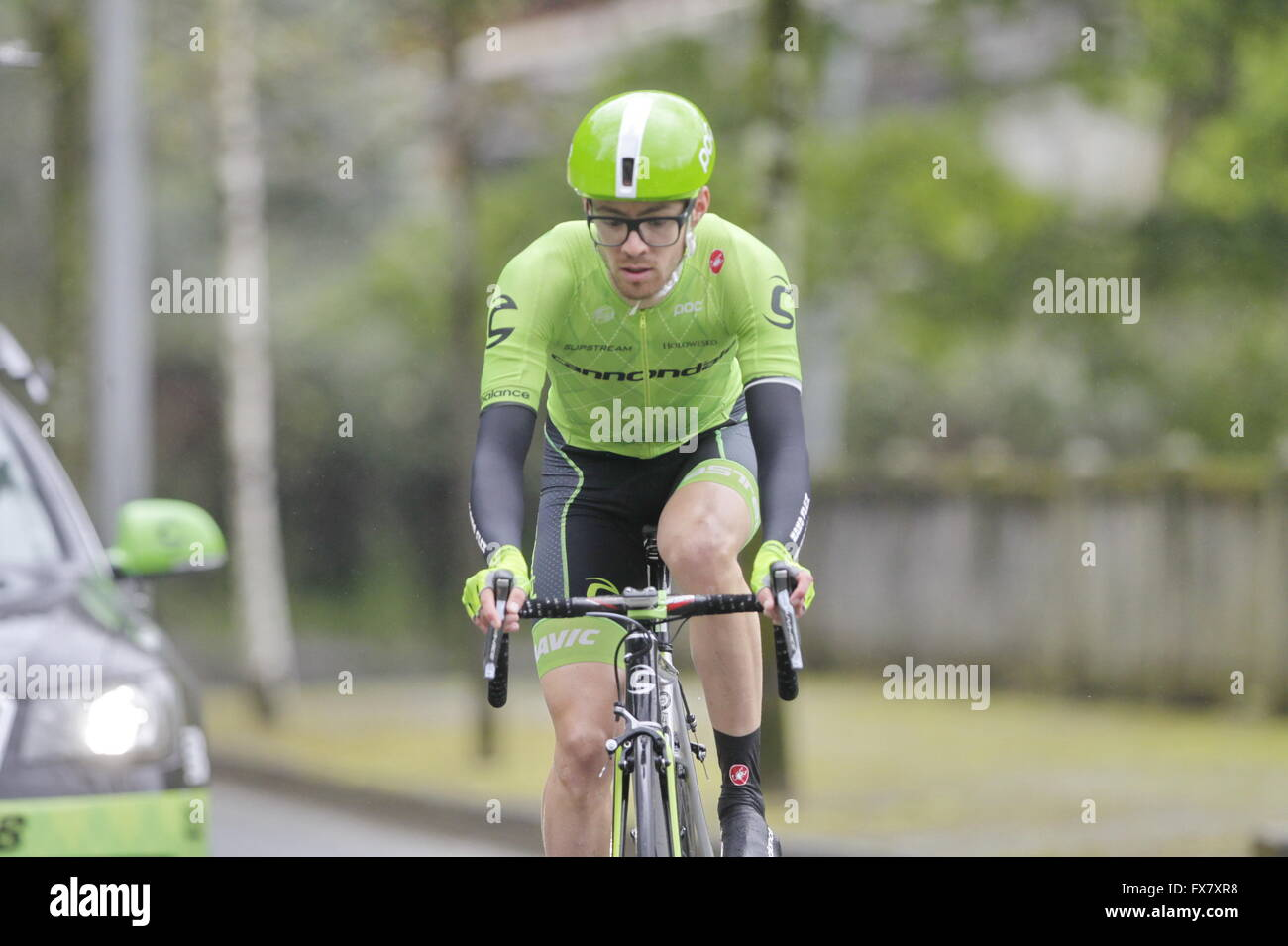 Eibar, Spain, April 9, 2016 Alex Howes  during the time trial against Eibar - Eibar of the Tour of the Basque Country - Stock Image