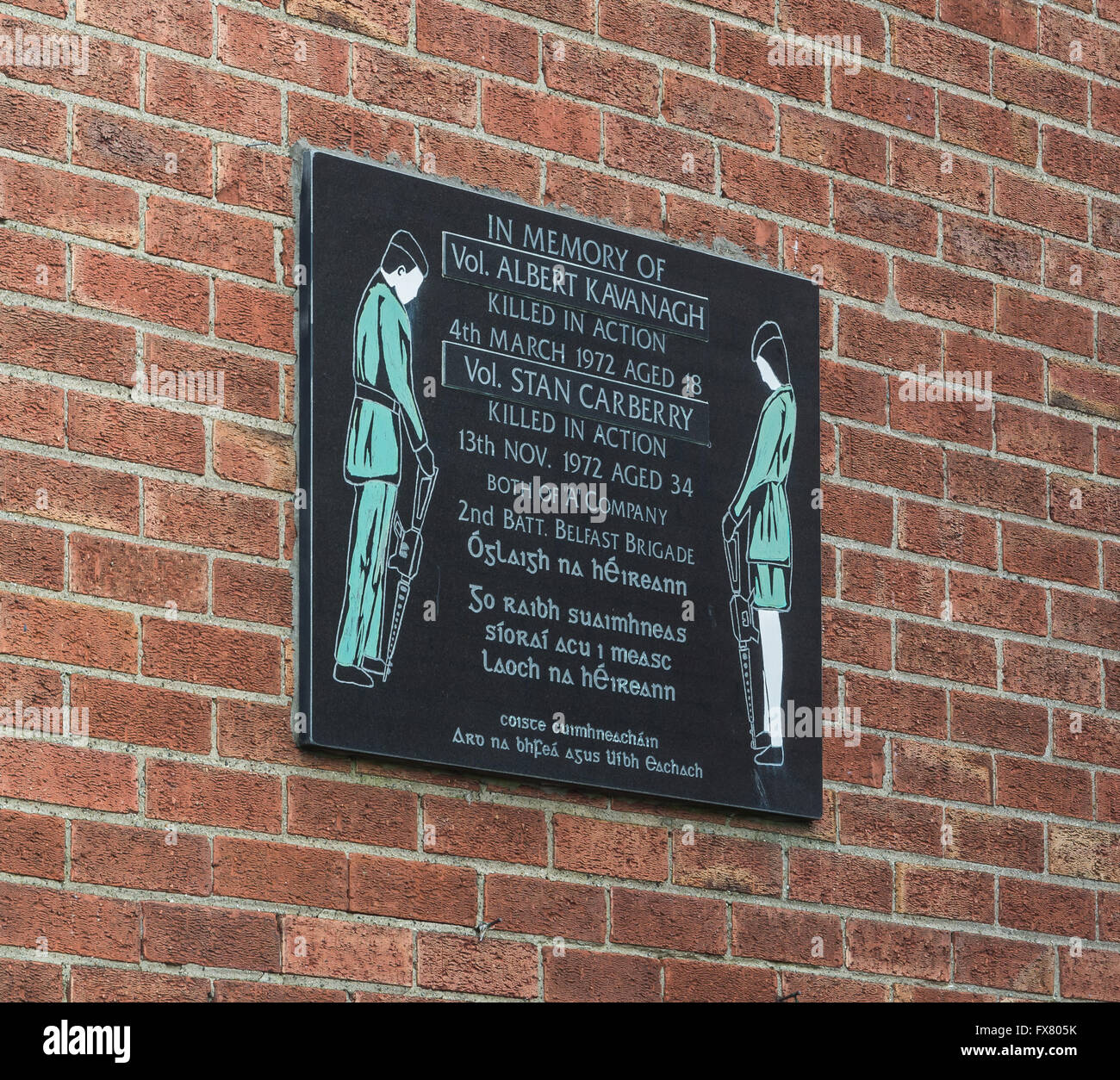 Memorial plaque for Albert Kavanagh and Stan Carberry IRA members from Belfast, plaque is found on Falls Road. Stock Photo