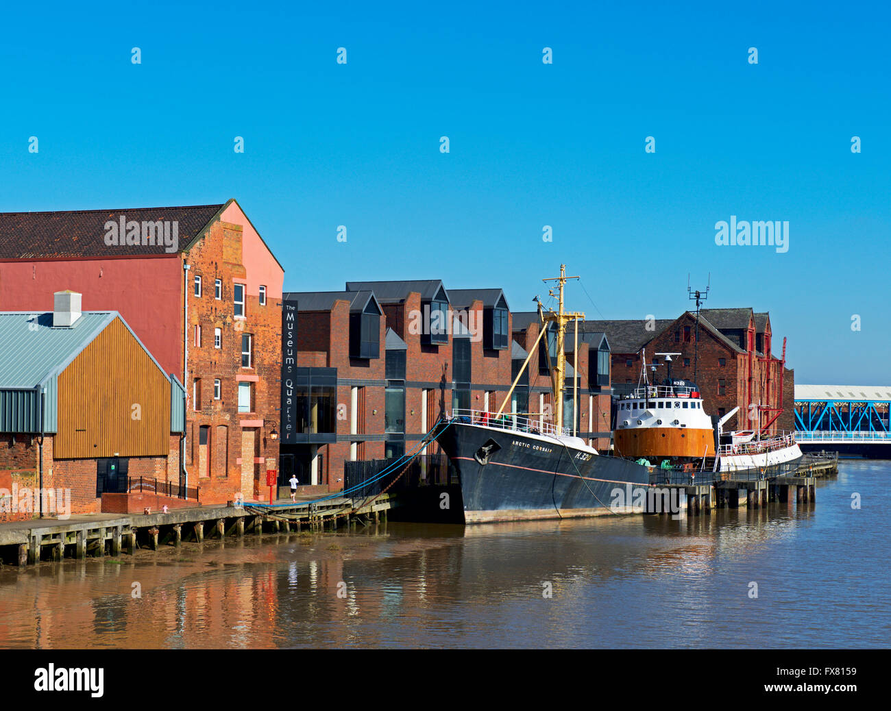 Warehouses in the Museum Quarter, overlooking the River Hull, Kingston upon Hull, Humberside, East Yorkshire, England - Stock Image