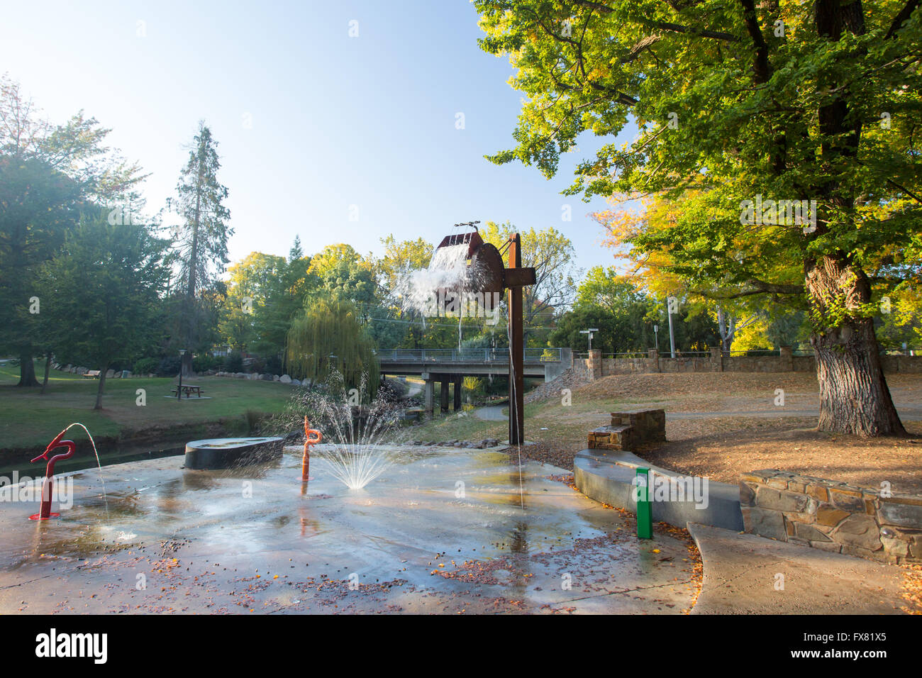 Bright Splash Park early on a cool autumn morning in Bright, Victoria, Australia Stock Photo