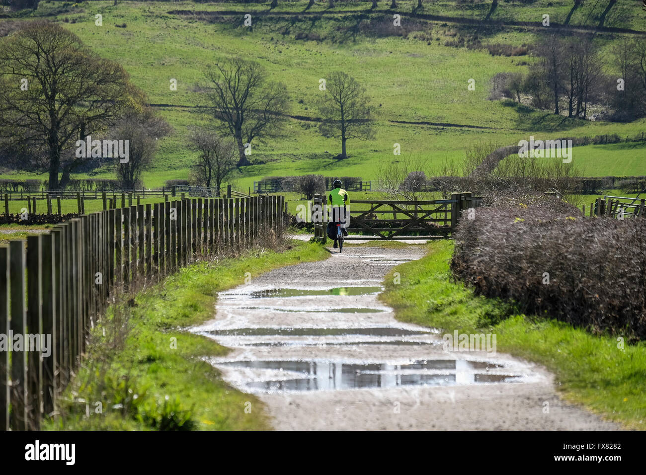 Cyclist on a wet path with puddles in the countryside - Stock Image