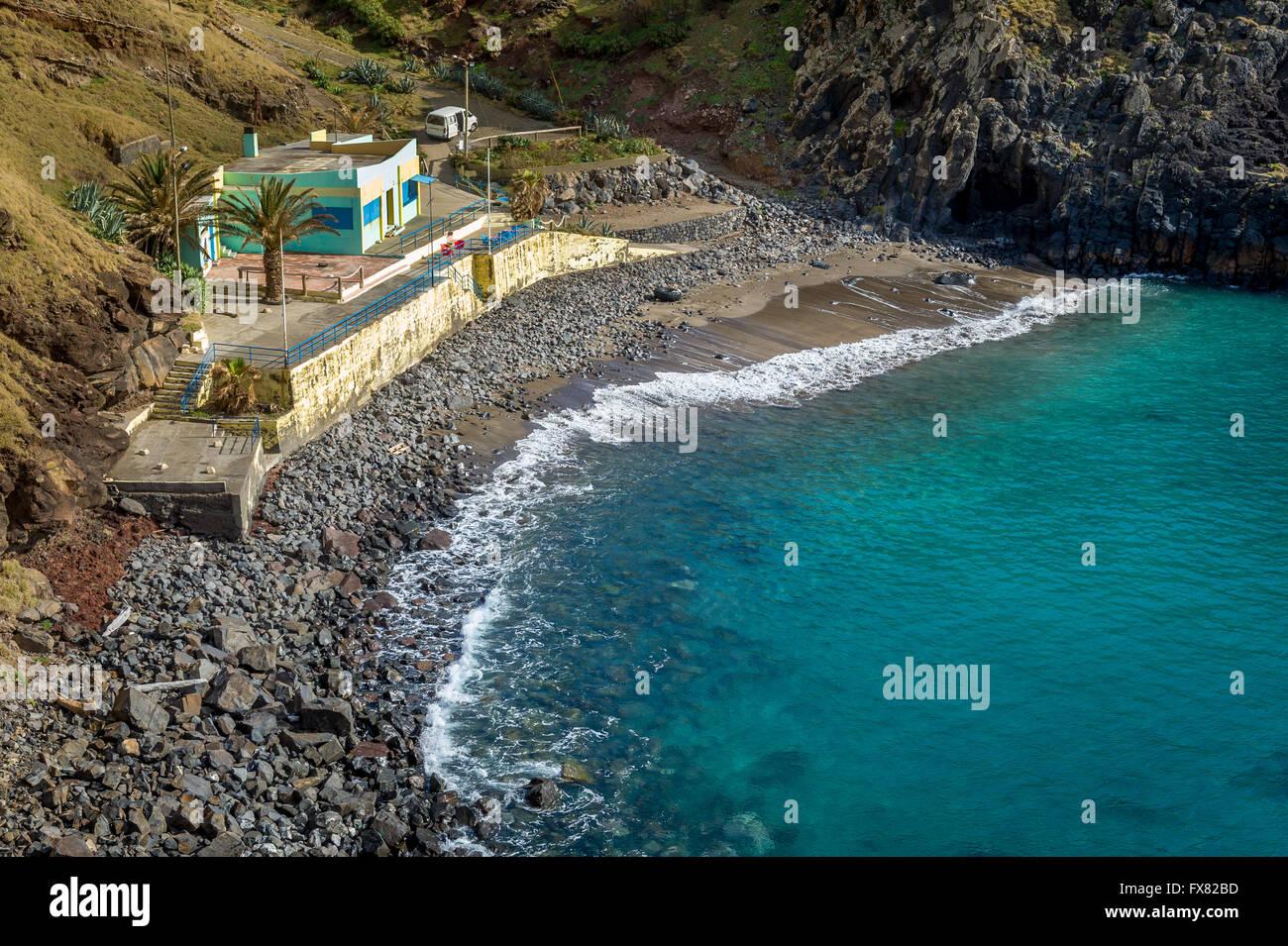 Black sand beach Prainha. Madeira island. - Stock Image